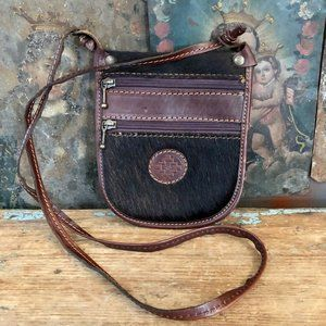 Brown Leather and Hair-on Cowhide Crossbody Bag